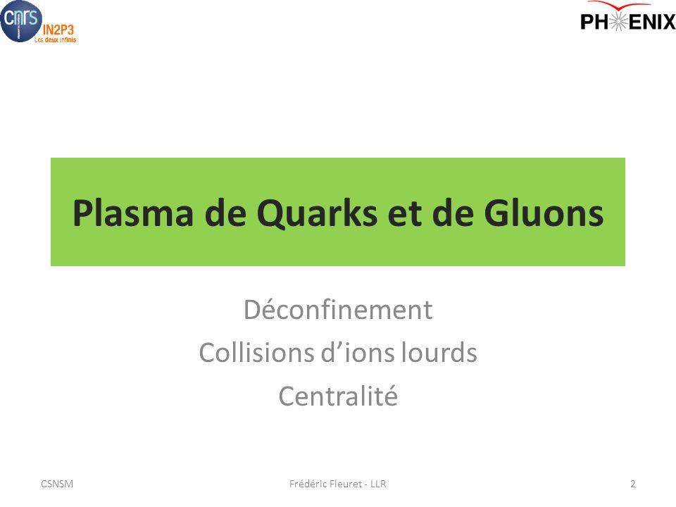 Plasma de Quarks et de Gluons Déconfinement Collisions dions lourds Centralité Frédéric Fleuret - LLR2CSNSM