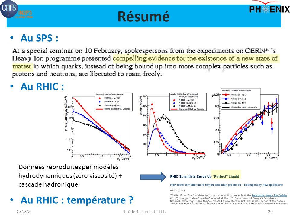 Résumé Au SPS : Au RHIC : Au RHIC : température .