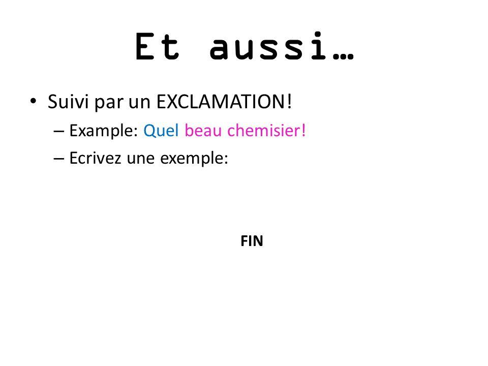 Et aussi… Suivi par un EXCLAMATION! – Example: Quel beau chemisier! – Ecrivez une exemple: FIN