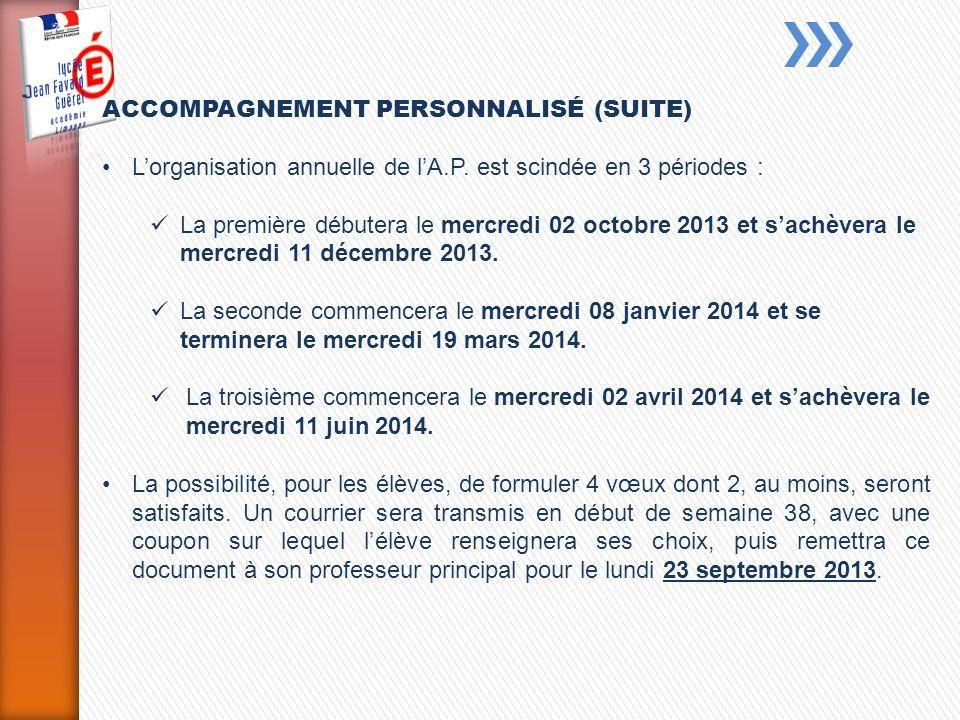 ACCOMPAGNEMENT PERSONNALISÉ (SUITE) Lorganisation annuelle de lA.P.