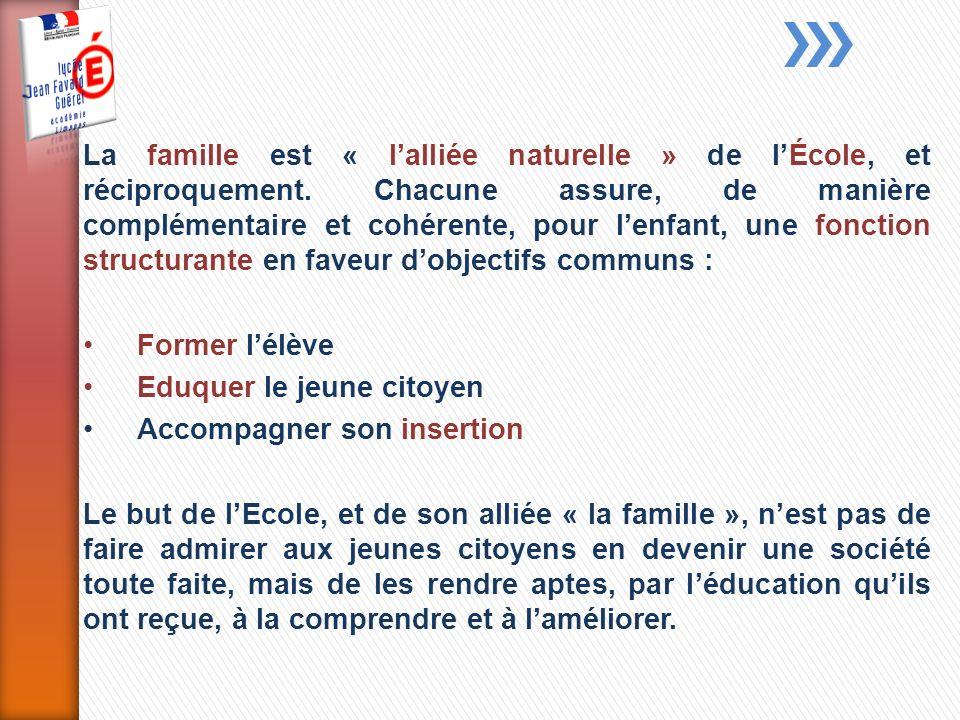 La famille est « lalliée naturelle » de lÉcole, et réciproquement.