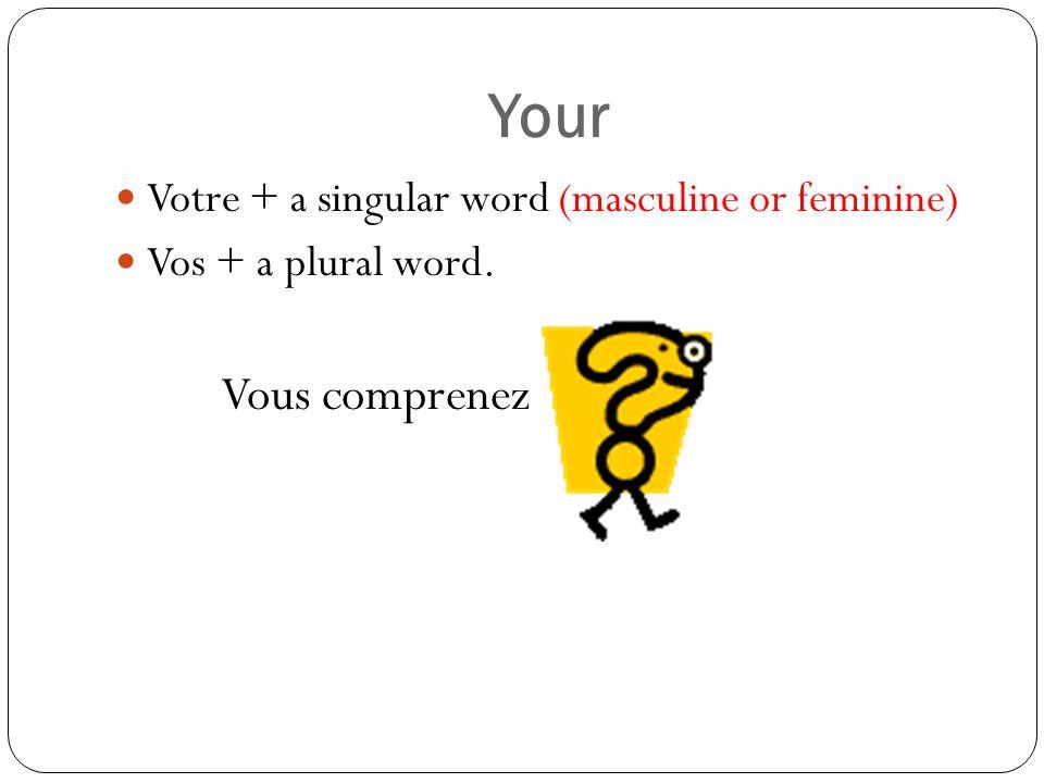 Your Votre + a singular word (masculine or feminine) Vos + a plural word. Vous comprenez