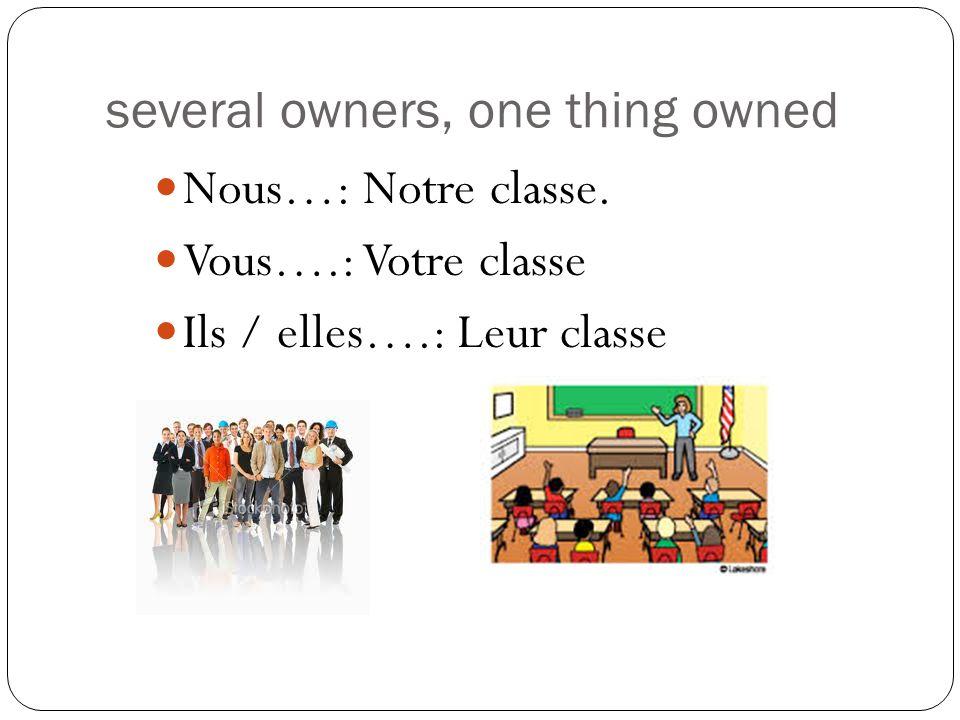 several owners, one thing owned Nous…: Notre classe. Vous….: Votre classe Ils / elles….: Leur classe