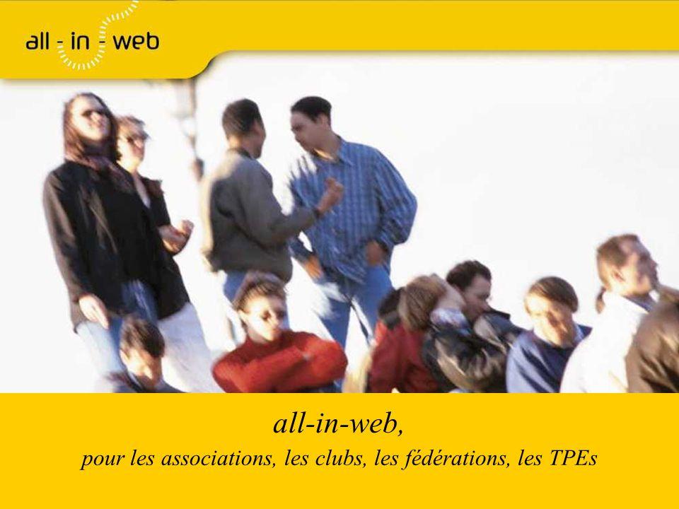 Page 12 associations Carte didentité de all-in-web Statut : SAS au capital de 80.000 euros créée en mars 2005 statut de Jeune Entreprise Innovante Siége Social à Versailles Locaux techniques à Massy En partenariat avec un réseau dentreprises majoritairement françaises Internet-Fr (hébergement), Ingenosya (développements), Junior Supelec Stratégie (Etudes et développements), Vincent Lefevre et Carole Jung (Design et graphisme), AMABIS (traitement des adresses), Esker (envoi virtuel de courrier et fax) Avec les soutiens de www.all-in-web.fr contact@all-in-web.fr 01.41.25.75.10