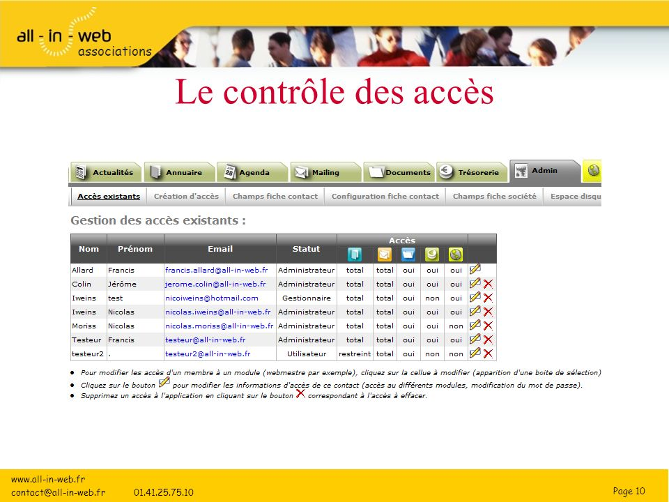 Page 10 associations Le contrôle des accès www.all-in-web.fr contact@all-in-web.fr 01.41.25.75.10