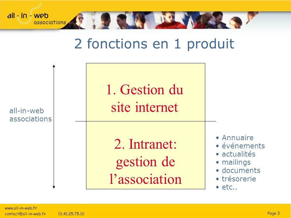 Page 3 associations 2 fonctions en 1 produit 1. Gestion du site internet 2.