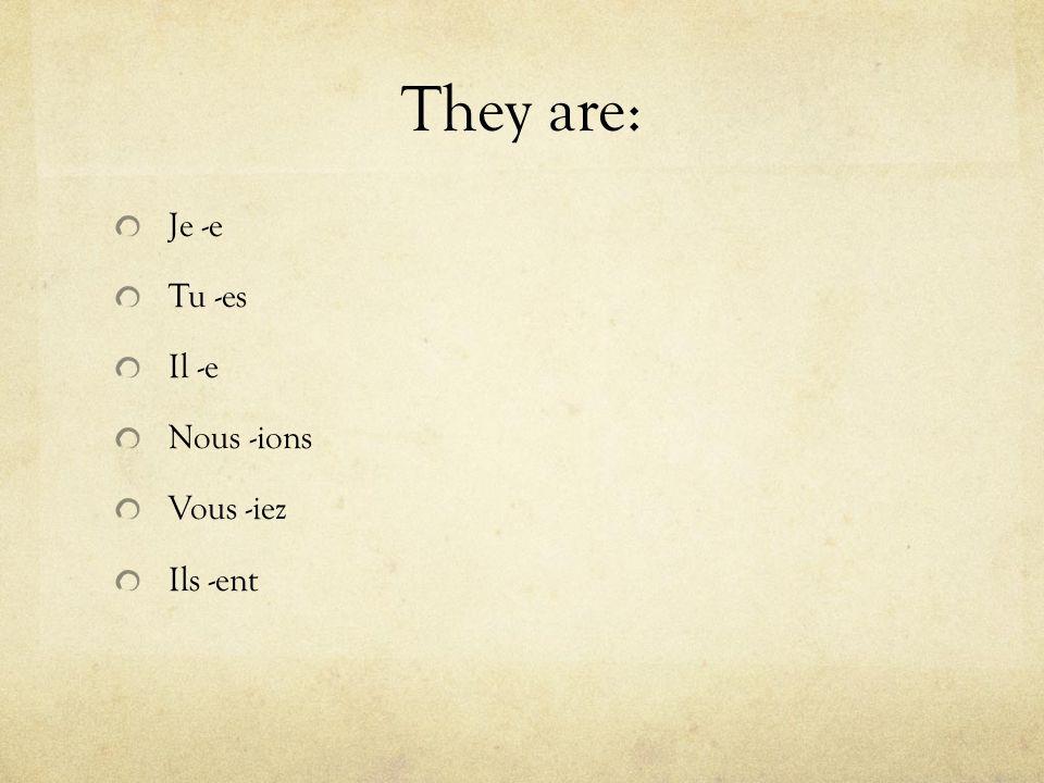 They are: Je -e Tu -es Il -e Nous -ions Vous -iez Ils -ent