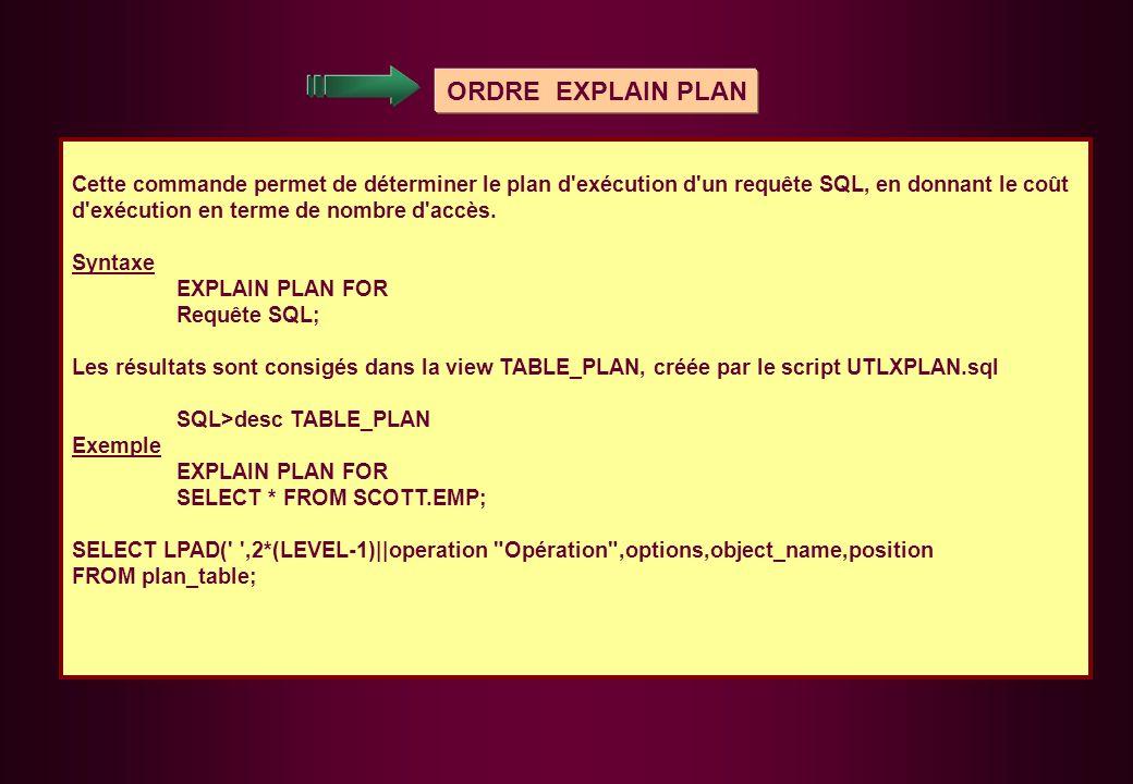 ORDRE EXPLAIN PLAN Cette commande permet de déterminer le plan d'exécution d'un requête SQL, en donnant le coût d'exécution en terme de nombre d'accès