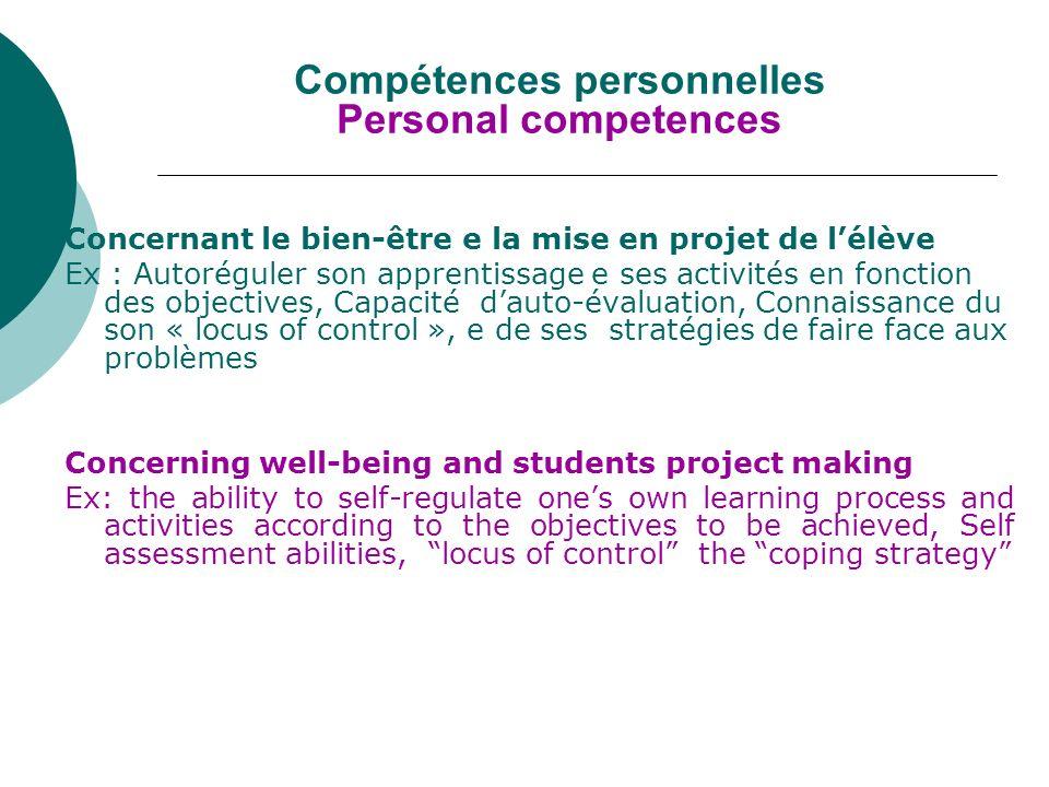 Compétences socio relationnelles Socio relational competences Concernant lélève par rapport au groupe des pairs, aux enseignants et à la famille Ex.