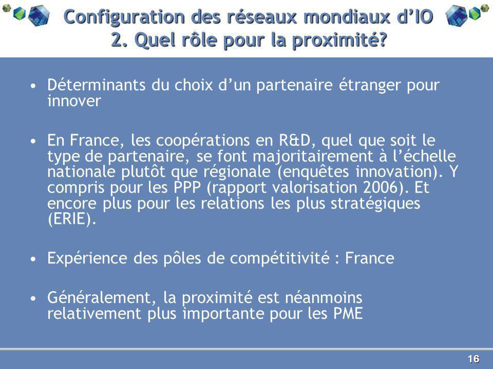 16 Configuration des réseaux mondiaux dIO 2. Quel rôle pour la proximité.