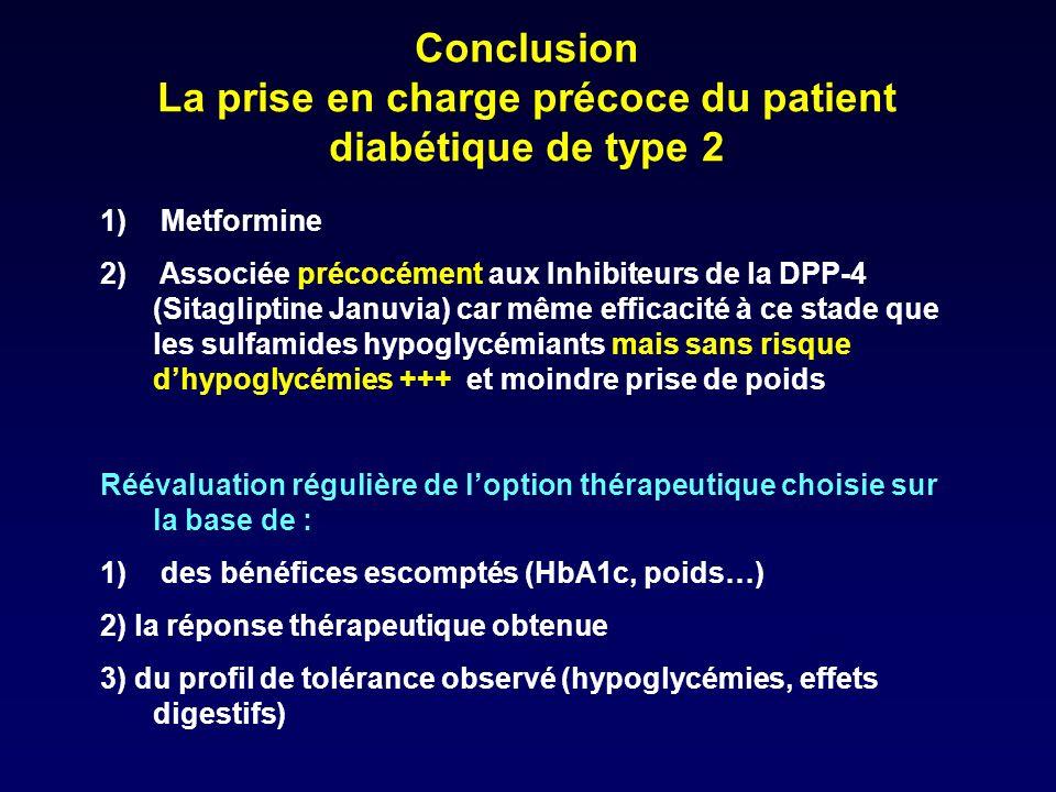 Conclusion La prise en charge précoce du patient diabétique de type 2 1) Metformine 2) Associée précocément aux Inhibiteurs de la DPP-4 (Sitagliptine