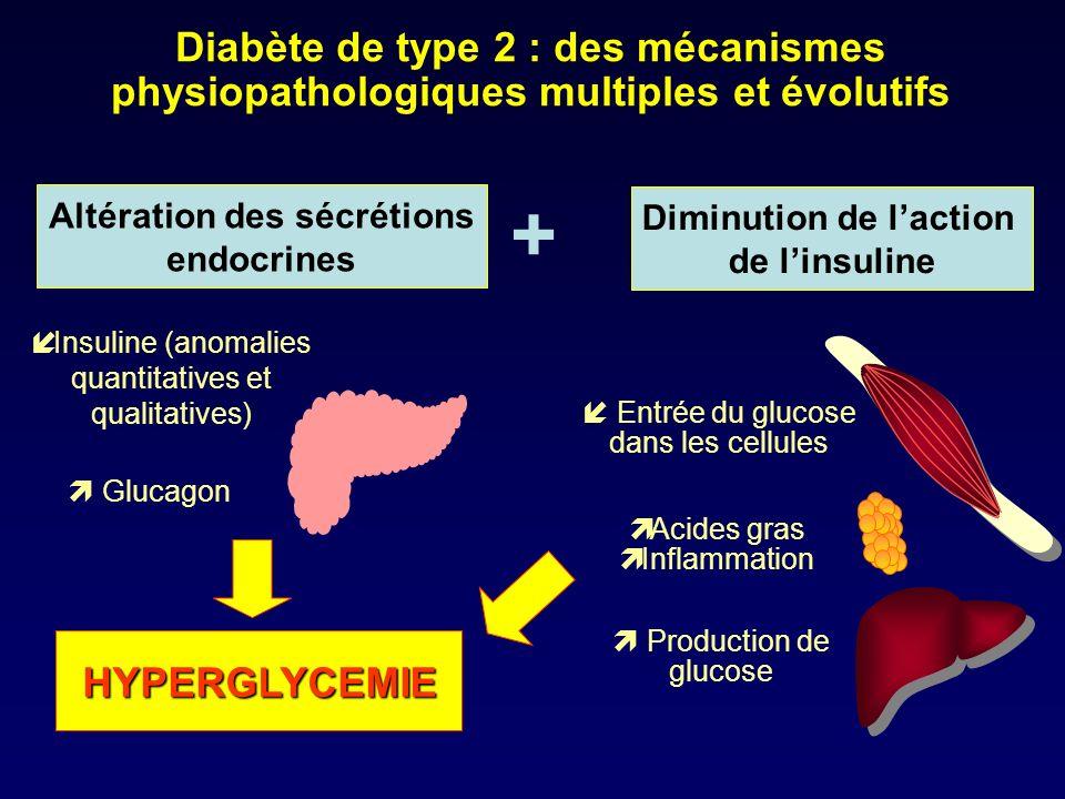 Diabète de type 2 : des mécanismes physiopathologiques multiples et évolutifs Altération des sécrétions endocrines Production de glucose Entrée du glu
