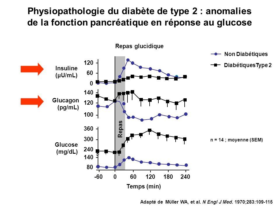 80 0 -60120180240 Temps (min) 120 60 100 120 140 360 300 240 Non Diabétiques 600 Insuline (µU/mL) Glucagon (pg/mL) Glucose (mg/dL) Repas glucidique Re