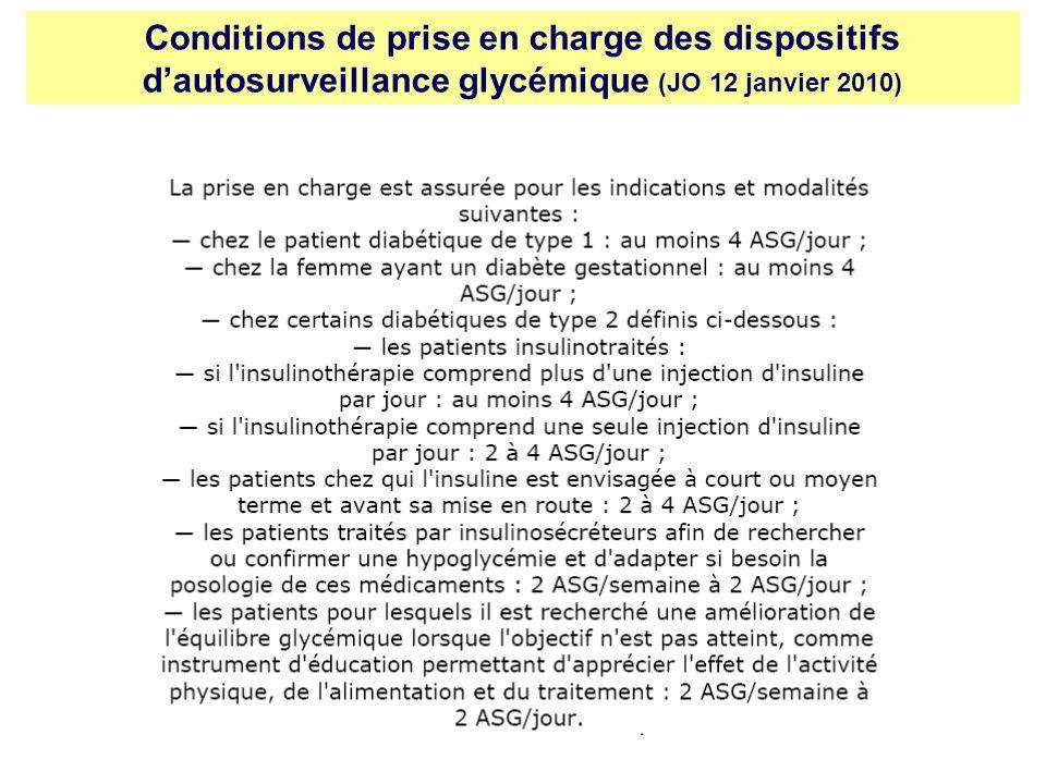 Conditions de prise en charge des dispositifs dautosurveillance glycémique (JO 12 janvier 2010)