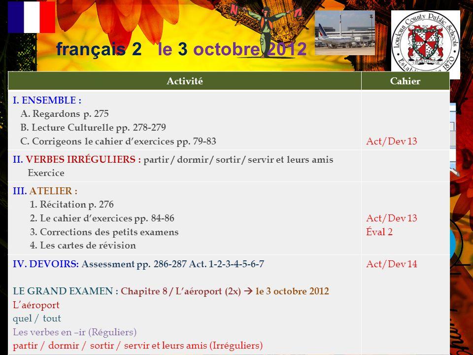 français 2 Lectures Culturelles pp. 278-279 p. 280 Act.