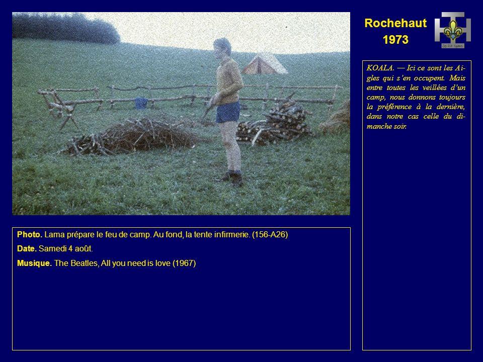 Rochehaut 1973 Photo. Lama et Daim coupent du bois pour le feu de camp.