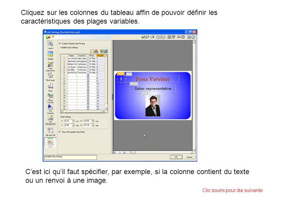 Cest ici quil faut spécifier, par exemple, si la colonne contient du texte ou un renvoi à une image. Cliquez sur les colonnes du tableau affin de pouv