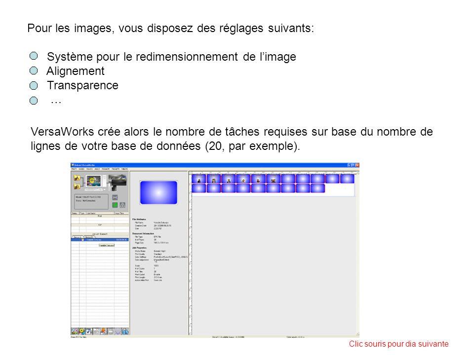 Pour les images, vous disposez des réglages suivants: Système pour le redimensionnement de limage Alignement Transparence … VersaWorks crée alors le n