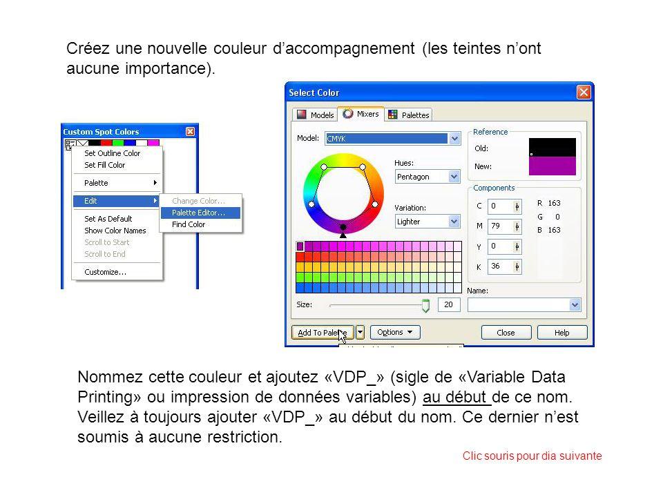 Créez une nouvelle couleur daccompagnement (les teintes nont aucune importance). Nommez cette couleur et ajoutez «VDP_» (sigle de «Variable Data Print