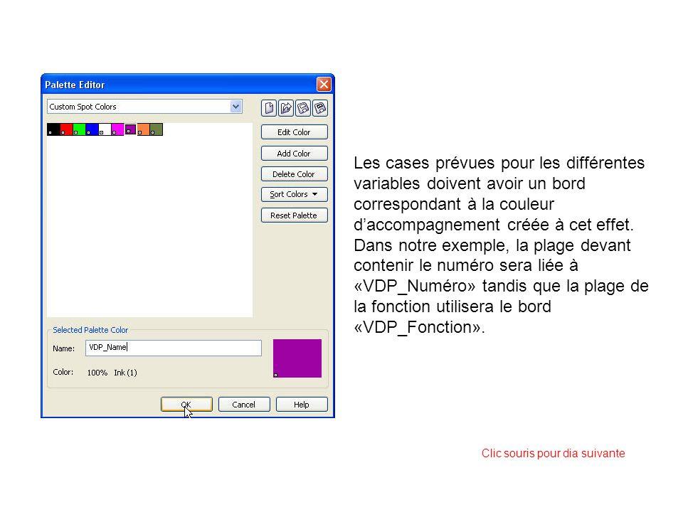 Les cases prévues pour les différentes variables doivent avoir un bord correspondant à la couleur daccompagnement créée à cet effet. Dans notre exempl