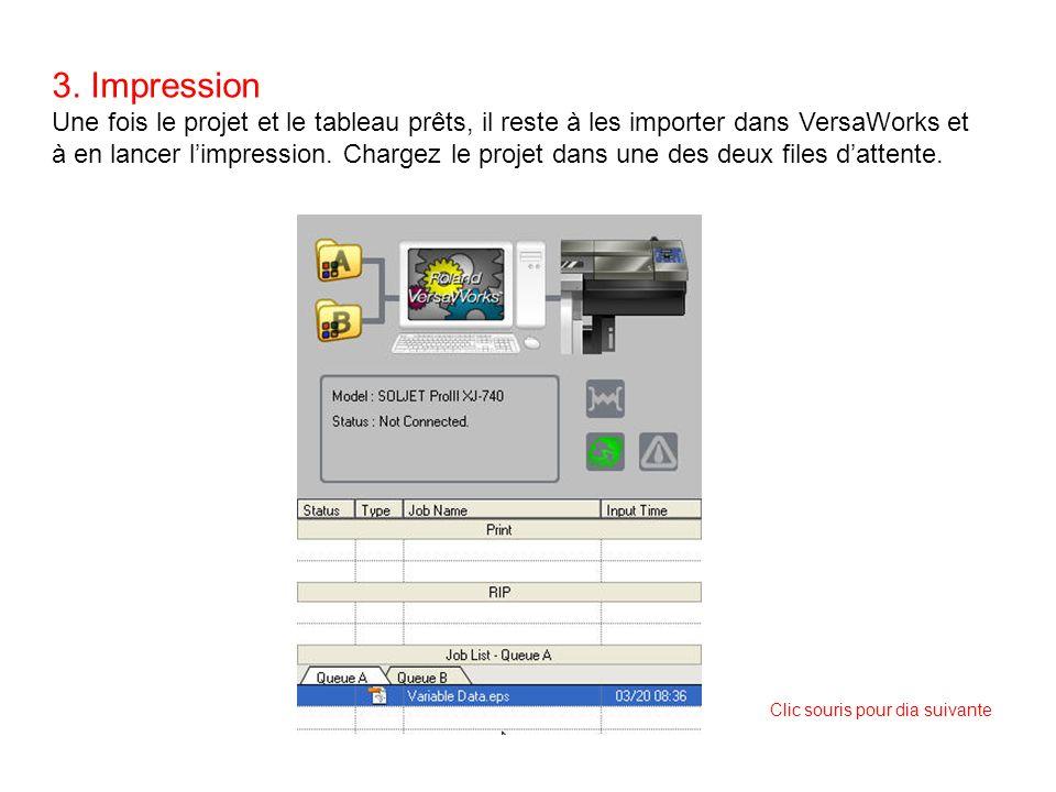 3. Impression Une fois le projet et le tableau prêts, il reste à les importer dans VersaWorks et à en lancer limpression. Chargez le projet dans une d