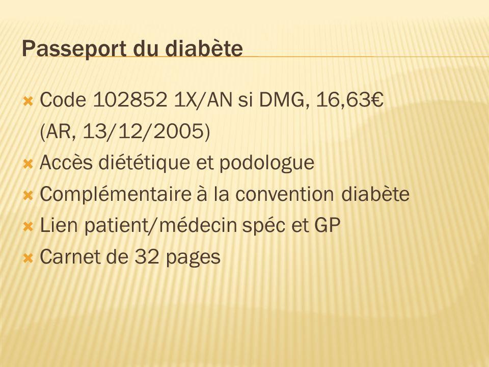 Passeport du diabète Code 102852 1X/AN si DMG, 16,63 (AR, 13/12/2005) Accès diététique et podologue Complémentaire à la convention diabète Lien patient/médecin spéc et GP Carnet de 32 pages
