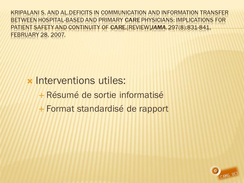 Interventions utiles: Résumé de sortie informatisé Format standardisé de rapport