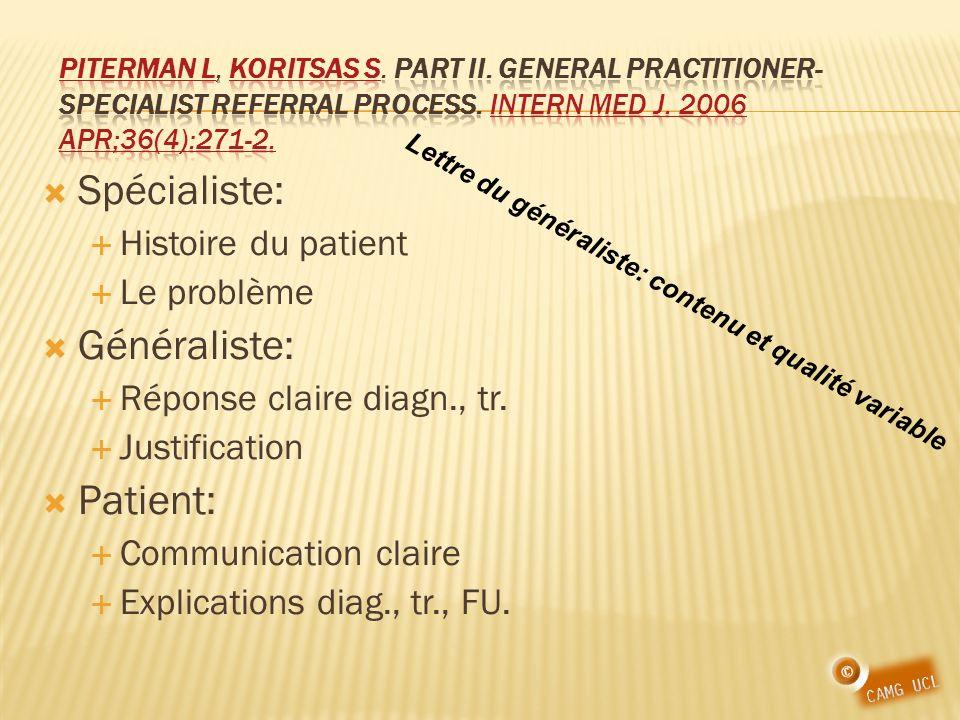 Spécialiste: Histoire du patient Le problème Généraliste: Réponse claire diagn., tr. Justification Patient: Communication claire Explications diag., t