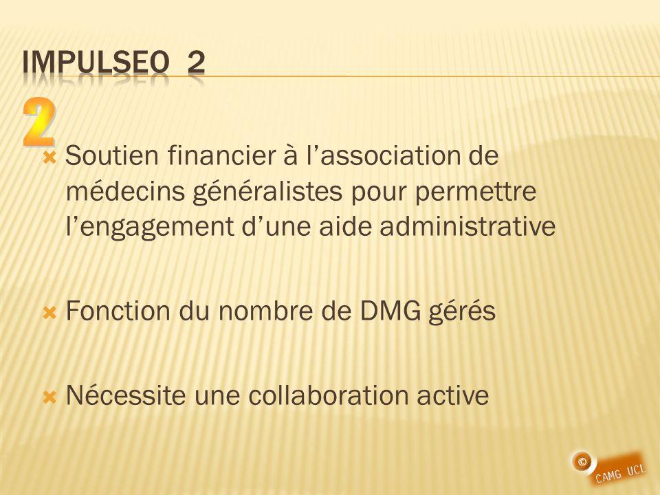 Soutien financier à lassociation de médecins généralistes pour permettre lengagement dune aide administrative Fonction du nombre de DMG gérés Nécessite une collaboration active