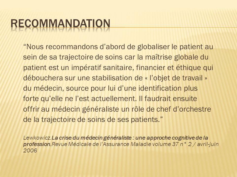 Nous recommandons dabord de globaliser le patient au sein de sa trajectoire de soins car la maîtrise globale du patient est un impératif sanitaire, fi