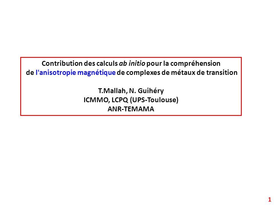 Contribution des calculs ab initio pour la compréhension de l'anisotropie magnétique de complexes de métaux de transition T.Mallah, N. Guihéry ICMMO,