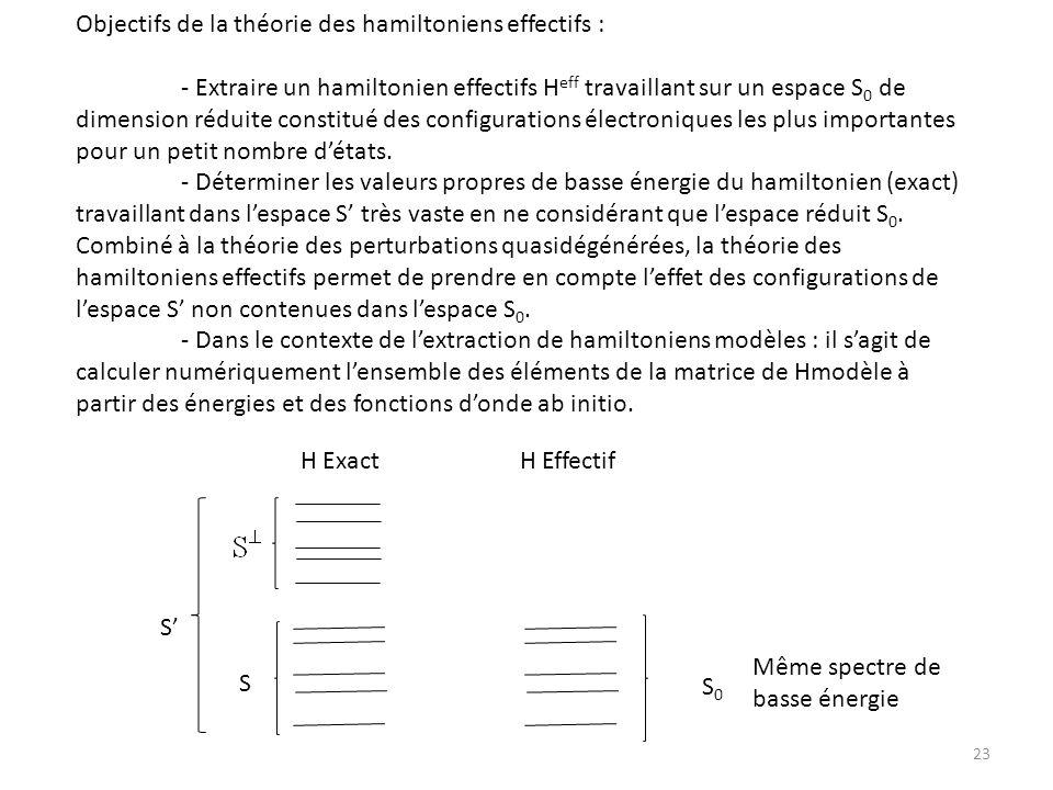 Objectifs de la théorie des hamiltoniens effectifs : - Extraire un hamiltonien effectifs H eff travaillant sur un espace S 0 de dimension réduite cons
