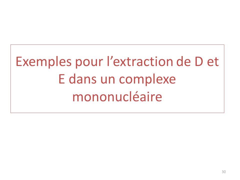 Exemples pour lextraction de D et E dans un complexe mononucléaire 30