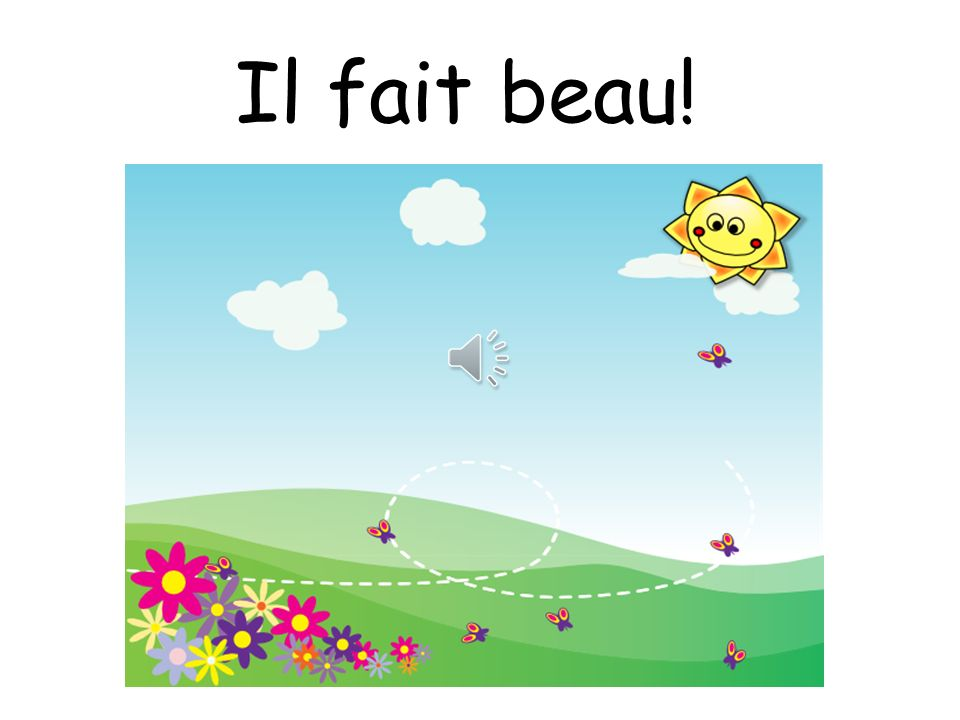 Quel temps fait-il.Charades Teacher teaches actions to each of the weather phrases e.g.