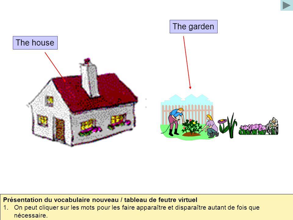The house The garden Présentation du vocabulaire nouveau / tableau de feutre virtuel 1.On peut cliquer sur les mots pour les faire apparaître et dispa
