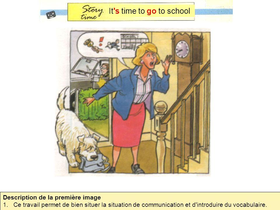 It's time to go to school Description de la première image 1.Ce travail permet de bien situer la situation de communication et d'introduire du vocabul