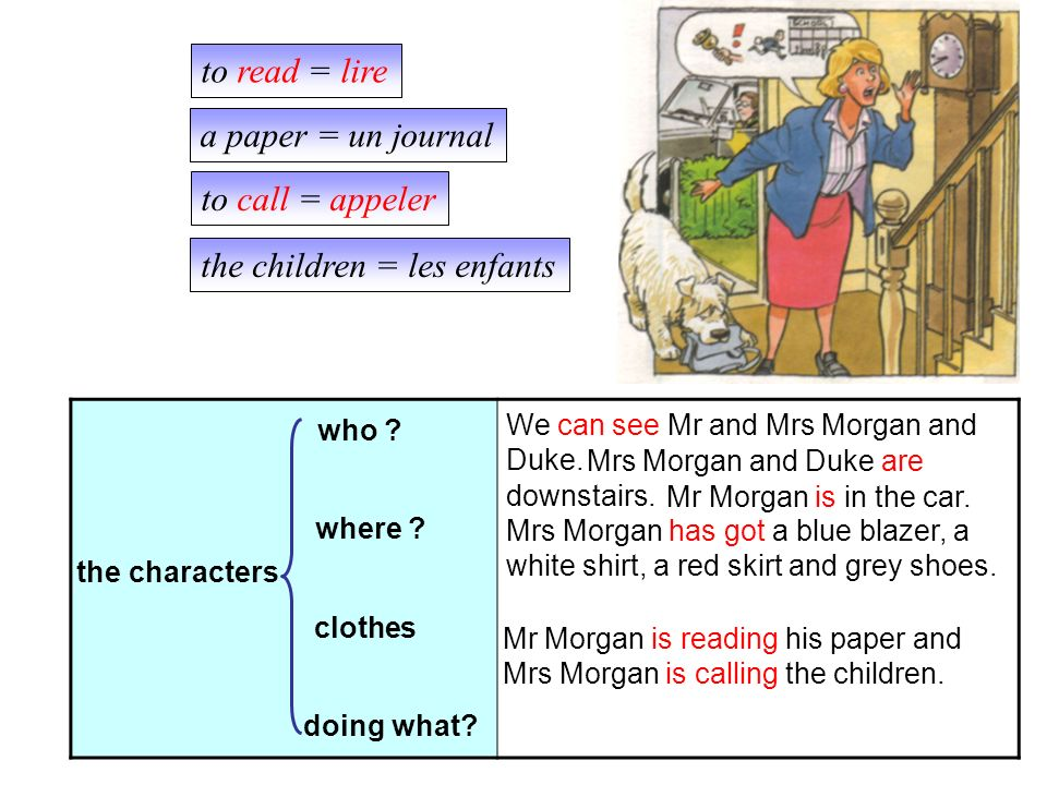 the characters who .clothes Mrs Morgan and Duke are downstairs.