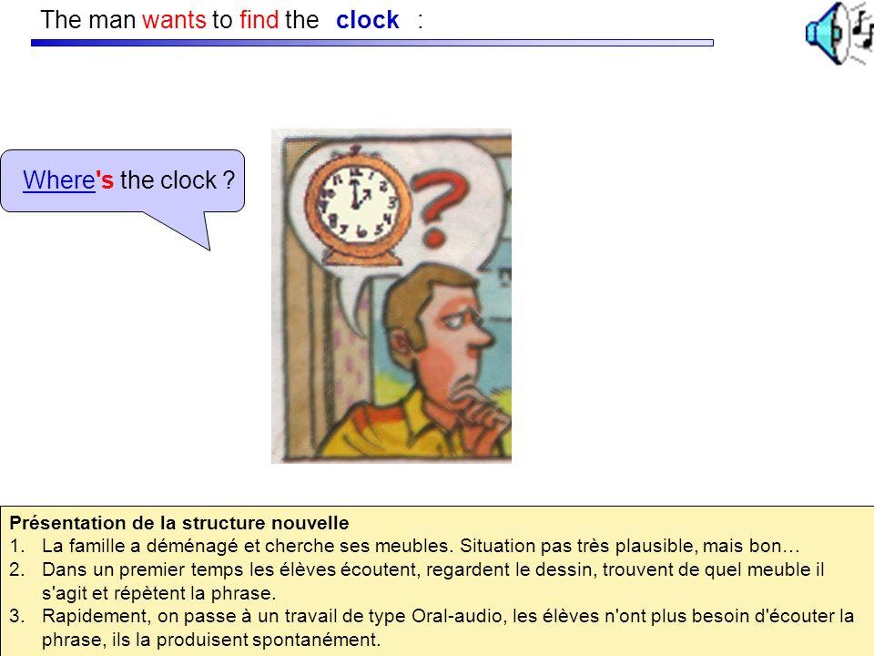 The man wants to find the : Where's the clock ? clock Présentation de la structure nouvelle 1.La famille a déménagé et cherche ses meubles. Situation
