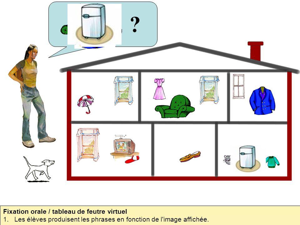 ? Fixation orale / tableau de feutre virtuel 1.Les élèves produisent les phrases en fonction de l'image affichée.