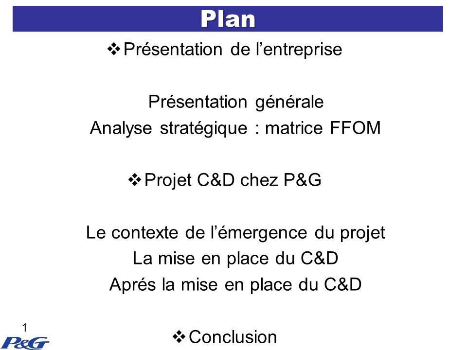 Plan Présentation de lentreprise Présentation générale Analyse stratégique : matrice FFOM Projet C&D chez P&G Le contexte de lémergence du projet La mise en place du C&D Aprés la mise en place du C&D Conclusion 1