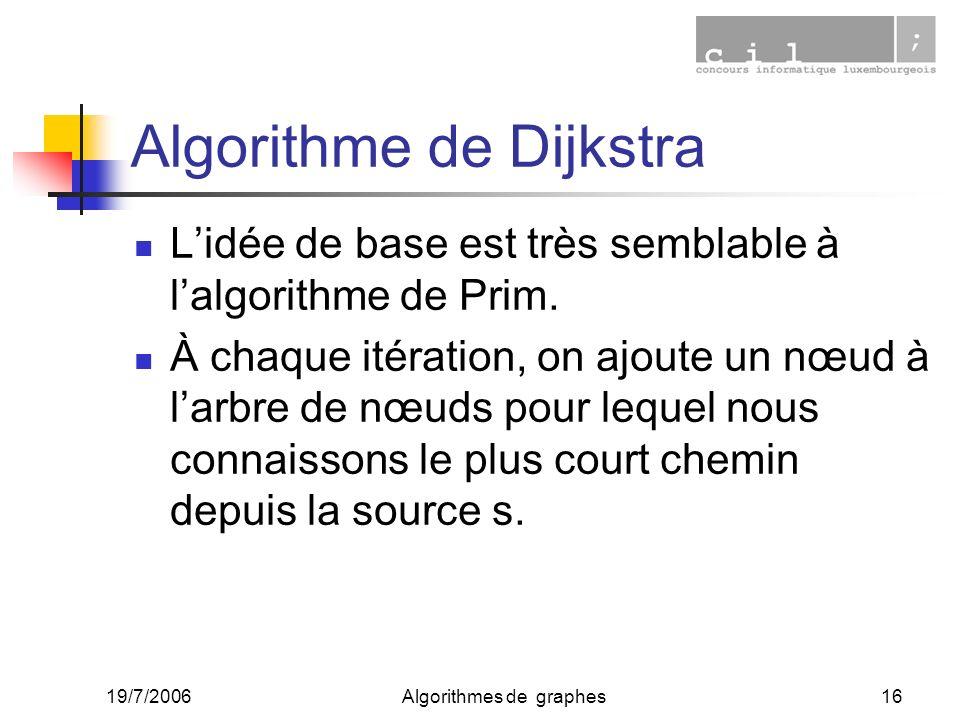 19/7/2006Algorithmes de graphes16 Algorithme de Dijkstra Lidée de base est très semblable à lalgorithme de Prim. À chaque itération, on ajoute un nœud