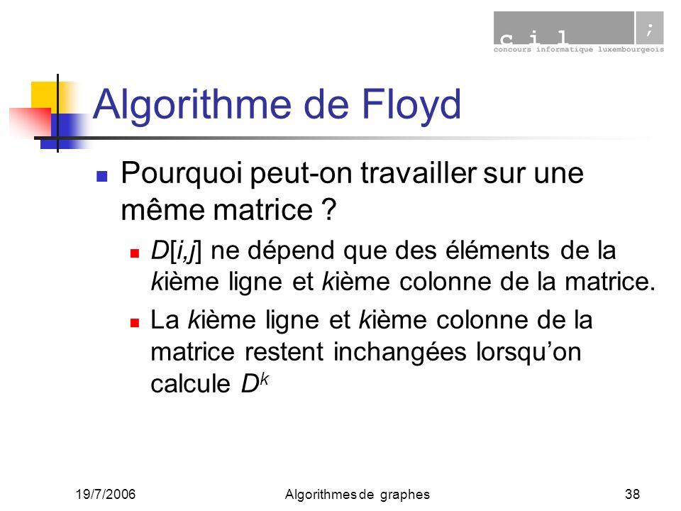 19/7/2006Algorithmes de graphes38 Algorithme de Floyd Pourquoi peut-on travailler sur une même matrice ? D[i,j] ne dépend que des éléments de la kième