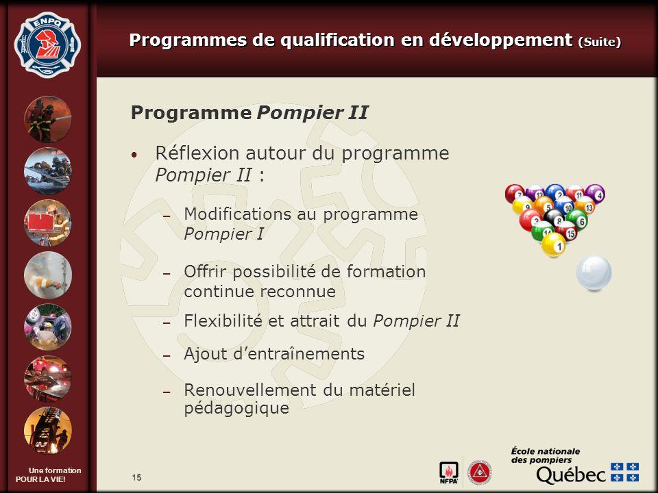 Une formation POUR LA VIE! 15 Programme Pompier II Réflexion autour du programme Pompier II : – Modifications au programme Pompier I – Offrir possibil
