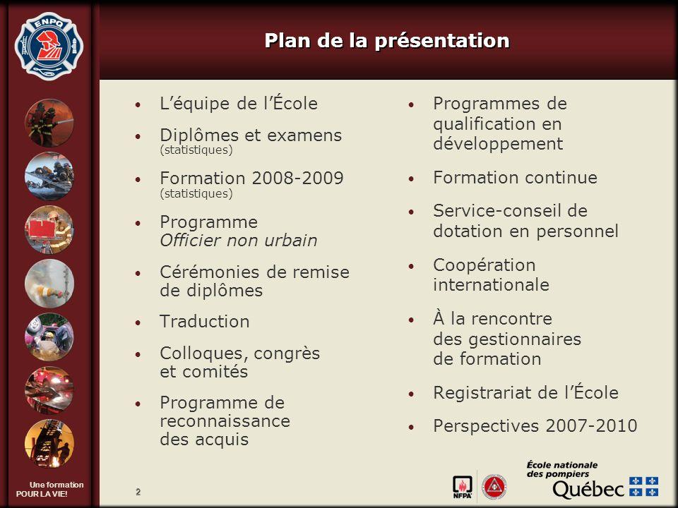 Une formation POUR LA VIE! 2 Plan de la présentation Léquipe de lÉcole Diplômes et examens (statistiques) Formation 2008-2009 (statistiques) Programme