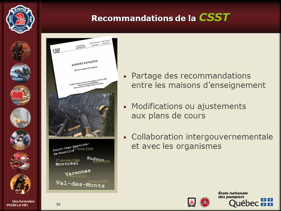 Une formation POUR LA VIE! 30 Recommandations de la CSST Partage des recommandations entre les maisons denseignement Modifications ou ajustements aux