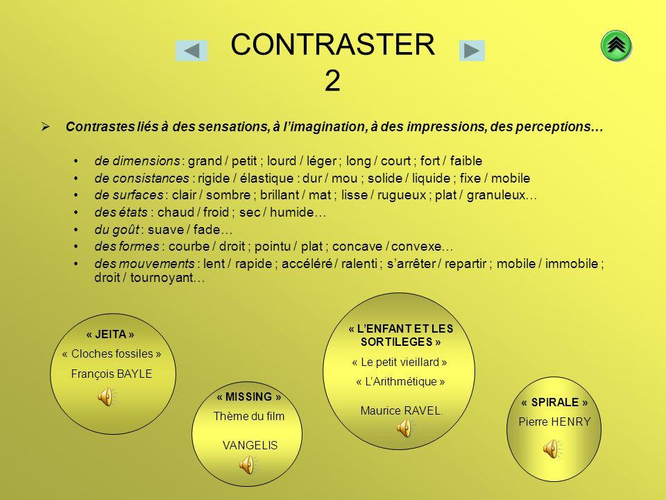 CONTRASTER 2 Contrastes liés à des sensations, à limagination, à des impressions, des perceptions… de dimensions : grand / petit ; lourd / léger ; lon