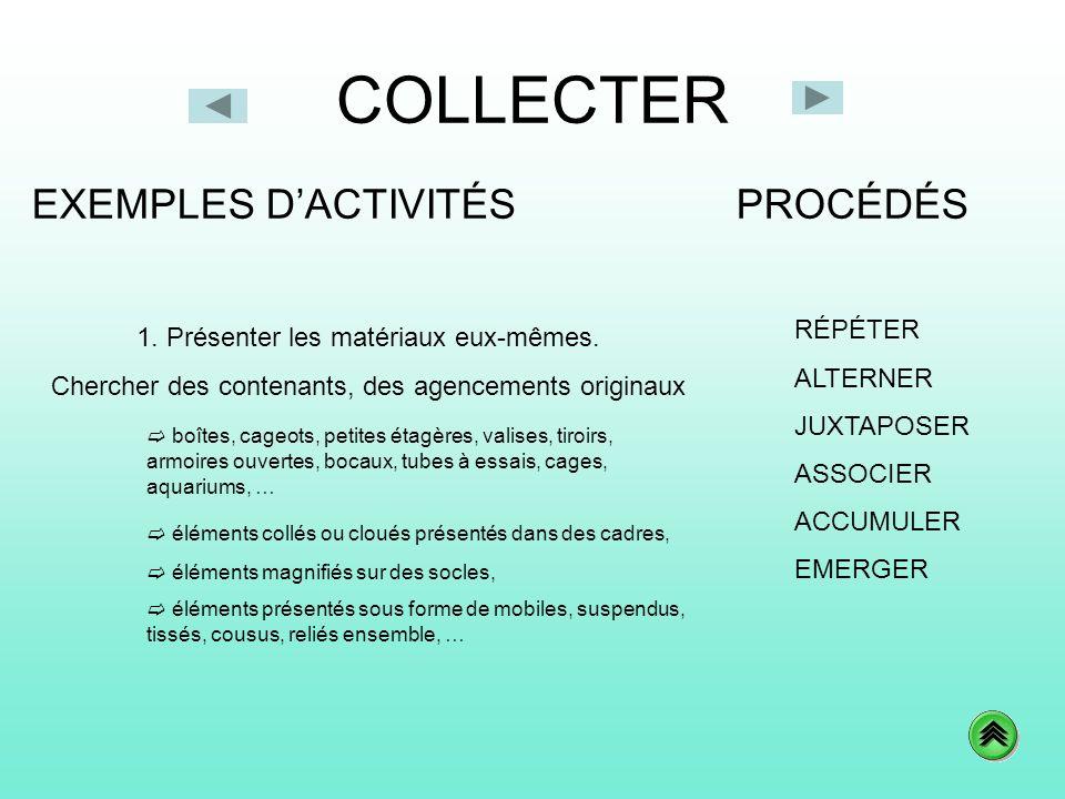 COLLECTER PROCÉDÉSEXEMPLES DACTIVITÉS RÉPÉTER ALTERNER JUXTAPOSER ASSOCIER ACCUMULER EMERGER 1. Présenter les matériaux eux-mêmes. Chercher des conten