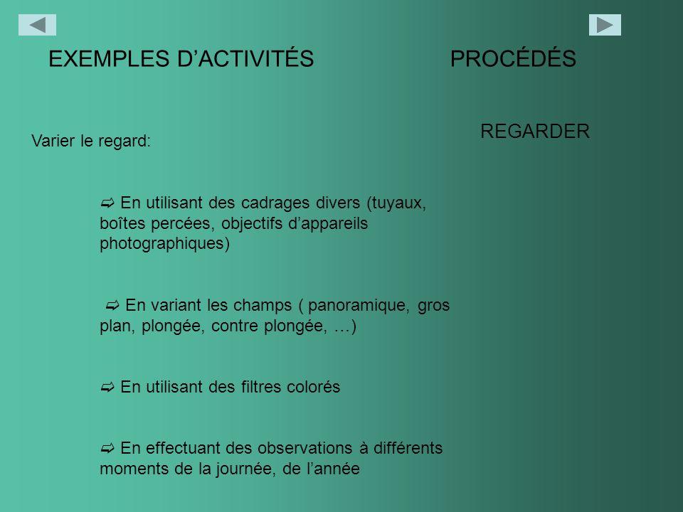 EXEMPLES DACTIVITÉSPROCÉDÉS REGARDER Varier le regard: En utilisant des cadrages divers (tuyaux, boîtes percées, objectifs dappareils photographiques)