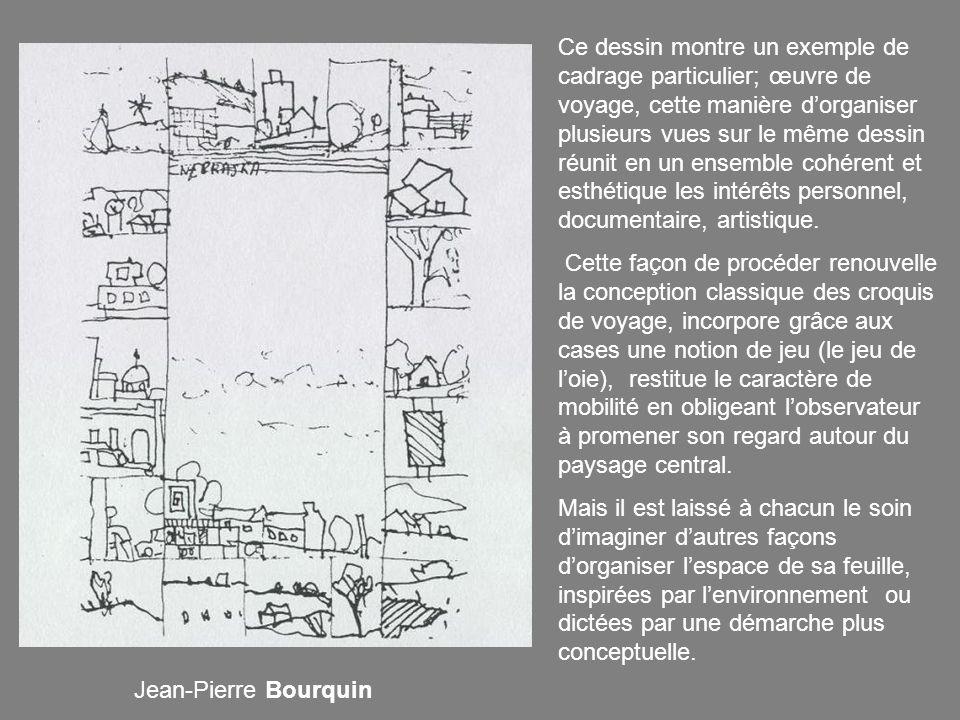 Ce dessin montre un exemple de cadrage particulier; œuvre de voyage, cette manière dorganiser plusieurs vues sur le même dessin réunit en un ensemble