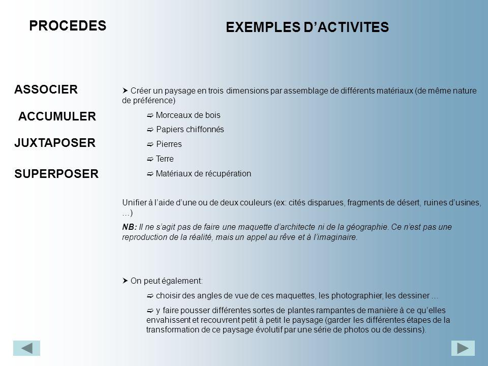 PROCEDES EXEMPLES DACTIVITES ASSOCIER JUXTAPOSER ACCUMULER SUPERPOSER Créer un paysage en trois dimensions par assemblage de différents matériaux (de